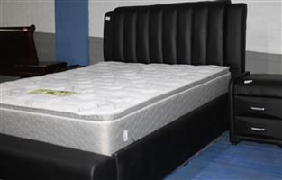 S034103C Sleigh bed with mattress and 2 pedestals #Rosettenvillepawnshop