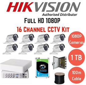 Hikvision 1080p 16 Channel 8 cam Turbo HD CCTV Kit including installation