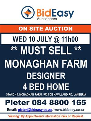 ON AUCTION: Prime Residential property in SECURE ESTATE - Monaghan estate, Lanseria, Johannesburg