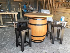 Wine Barrel with table top and chair combo - Stained