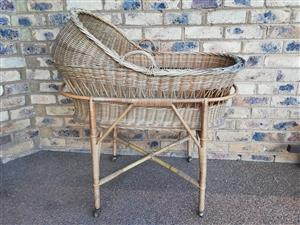 Traditional Hand-Woven Cane Bassinet