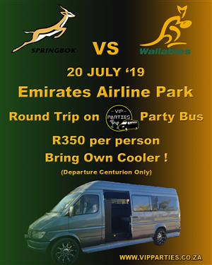 Round Trip on VIP Party Bus to Bokke vs Wallabies Game on 20 July 2019