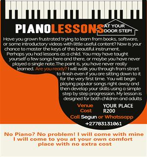Piano Lessons At Your Door Step!