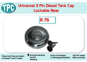 Universal 3 Pin Diesel Tank Cap Lockable New for Sale at TPC