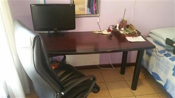 Heater, fridge, cupboards,desks, chair, shelves