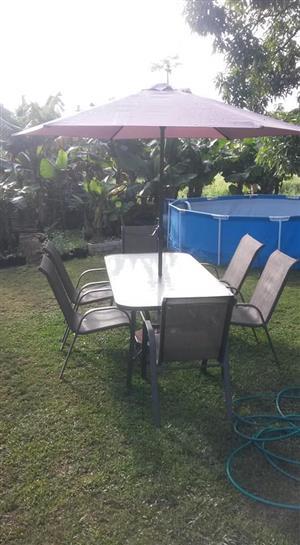 Beautiful outside furniture with umbrella
