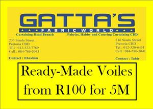 Crazy Curtaining Sale. R100 for 5M Voiles, Ready-Made and other Crazy OCTOBER SALE Specials