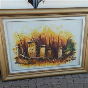 Abandoned buildings painting for sale