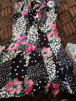 Black and pink floral summer dress