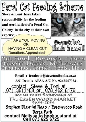to all those cat lovers out there . Feral Cat Feeding Scheme needs your unwanted household goodies