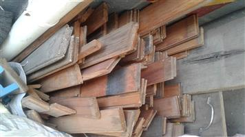 mixed knotty pine ceiling and floor boards in good condition