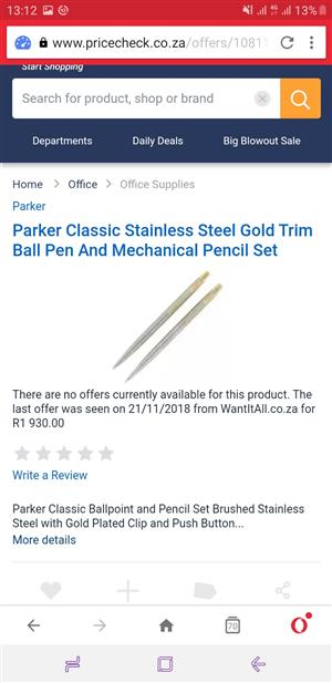 Parker Classic Stainless Steel Gold Trim Ball Pen And Mechanical Pencil Set