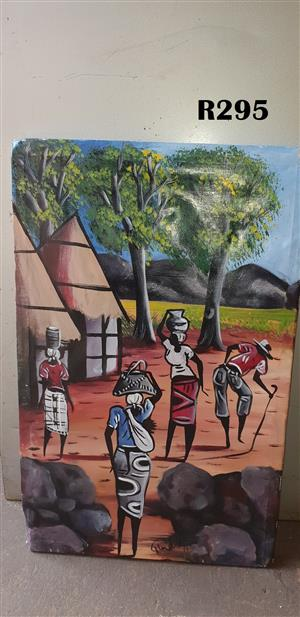 Man with a Cane and Three Women Painting (400x630)