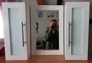 Handmade bathroom cabinet set.  A set consist of two cabinets and one mirror.