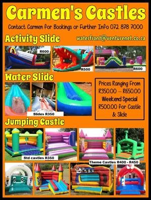 Jumping castles and waterslides available to HIRE...KZN South Coast Umtentweni 0728787000