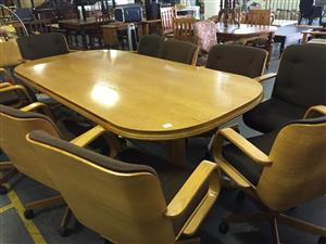 Boardroom Table and 10 Swivel Office Chairs