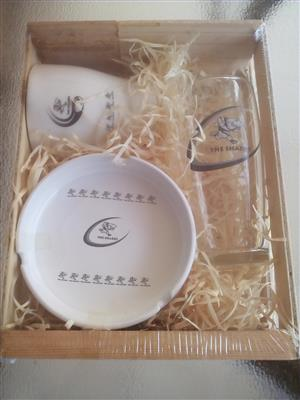 RUGBY Ceramic Mug, Ashtray & Willy Glass Gift Set in a wooden crate. Brand New Product.