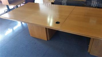 Oak finish boardroom table