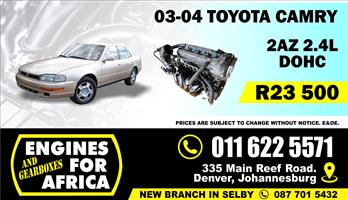 Used Toyota Camry 2AZ 2.4L 03-04 Engine FOR SALE