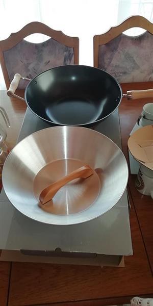 2piece non stick carbon steel wok set