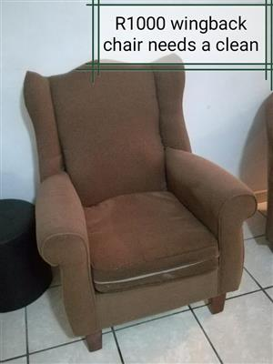 Wingback,tub chairs, table(incl 2 chairs have another 4 that need tlc can be taken together)