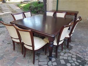 Wooden 8 seater dining table with side table