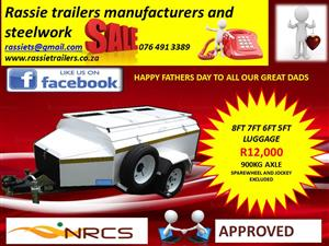 Luggage trailers for sale 8ft 7ft 6ft 5ft with roofrack and nosecone sabs approved