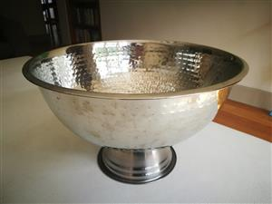 Hammered stainless steel champagne cooler bucket