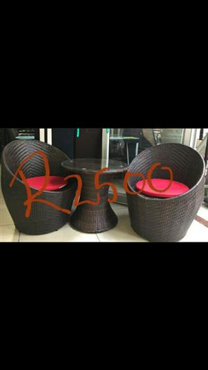 Brown woven patio set for sale