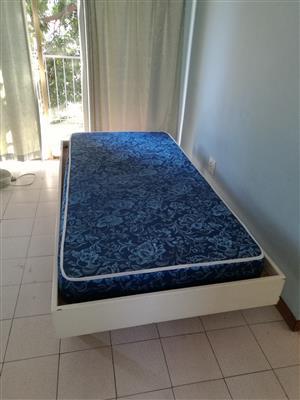 Wooden single bedbase with foam mattress