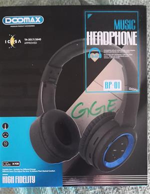 Black and blue colored music headphones