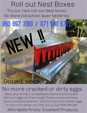 Roll out Nest Boxes Best Price in South Africa!!! Best quality.  Value for your money. Nationwide Delivery available.