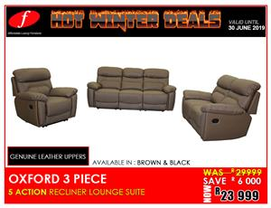 LOUNGE SUITE ON PROMOTION !!!! BRAND NEW OXFORD GENUINE LEATHER UPPER !!!! FOR ONLY R23 999
