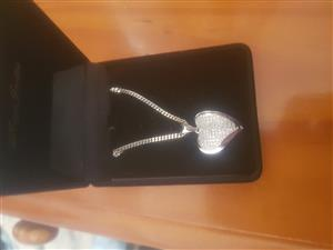 Silver Heart diamond necklace
