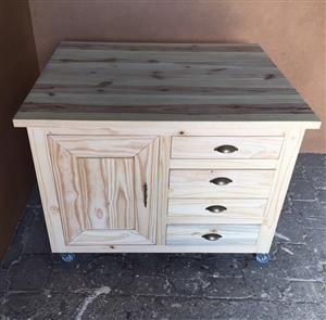 Kitchen Island Chunky Cottage Elegant series 1200 with drawers and door - Raw