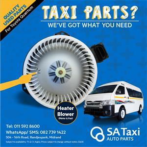 Heater Blower ( Motor and Fan) suitable for Toyota Quantum - SA Taxi Auto Parts quality used spares