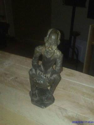 Solid Grandpa Soapstone Sitting Statue