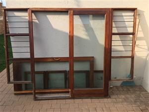 Wooden door & window frame with glass