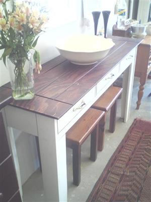 3 Drawer wooden table with 2 stools