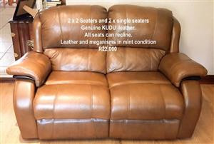 Genuine kudo leather lounge suite for sale