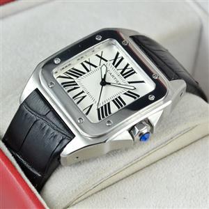 Cartier Santos 100 White Dial on Black Leather Strap