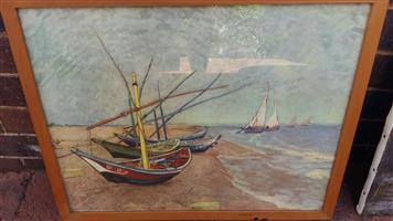 "Vincent van Gogh's ""Fishing Boats on the beach at Saintes-Maries-de-la-Mer"""
