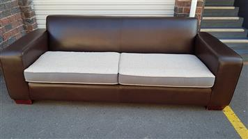 3 Seater Full Leather Solid Couch with reversible Material cushions