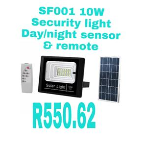 Solar security light with day/night sensor and remote control.