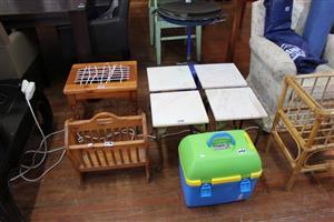 Frigob case,white mini chairs, magazine rack and riempie chair