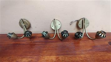 Set of 3 old Retro metal wall lights.