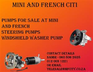 Pumps for sale at Mini and French Citi  Oil pumps Water Pumps  REPLACEMENT PARTS FOR SALE AT MINI AND FRENCH Pumps .  we specialize is Citroen , peugeot and Mini.