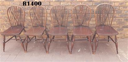 5 x Lincolnshire Oak Hoop-Back Windsor Side Chairs