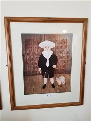 Framed boy and puppy painting for sale
