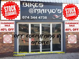 !!! CLOSING - STOCK CLEARANCE SALE -  40 % OFF !!! FROM 13 / 05 / 2019  --- TILL 27 / 05 / 2019  !!! 40% OFF ALL STOCK IN STORE !!!  - OIL FILTERS - AIR FILTERS - BRAKE PADS - DRIVE CHAINS - ACCESSORIES - HELMETS ..........ETC!!!